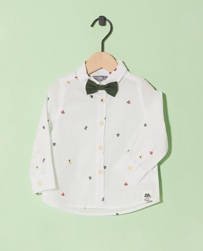 Wit hemd met kaki vlinderdasje