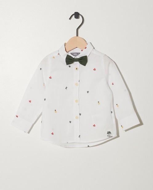 Chemises - Wit hemd met kaki vlinderdasje