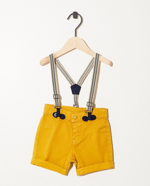Okergele short met bretellen - hip & trendy - JBC