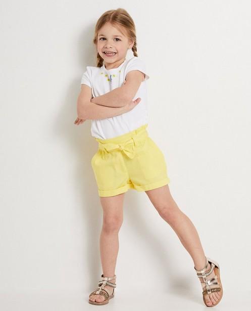 Blauwe short met knooplint Heidi - met paperbag waist - Heidi
