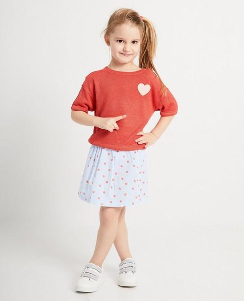 T-shirt rouge en tricot - paillettes et cœur doux - JBC