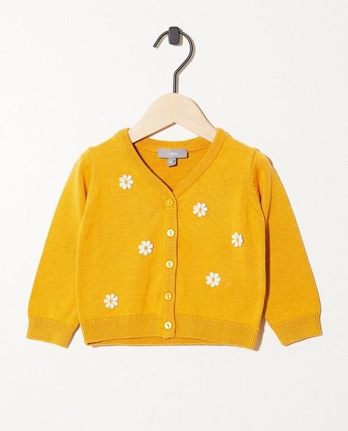 Cardigan jaune - petites fleurs brodées - JBC