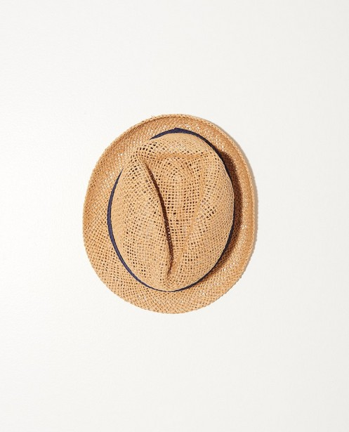 Chapeau de paille, ruban bleu    - En beige - JBC