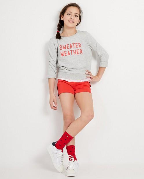 Grijze sweater met print BESTies - gevlamd katoen - Besties