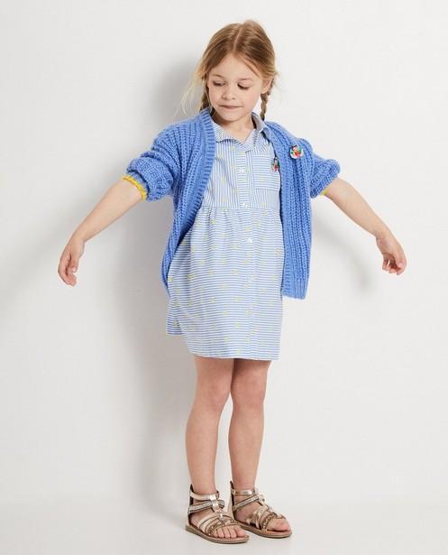 Blauw vest met broche Heidi - Grove brei - Heidi