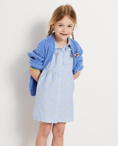Cardigans - BLM - Blauw vest met broche Heidi