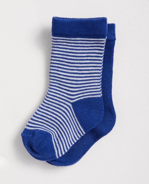2 paires de chaussettes bleues - rayées et unies - JBC