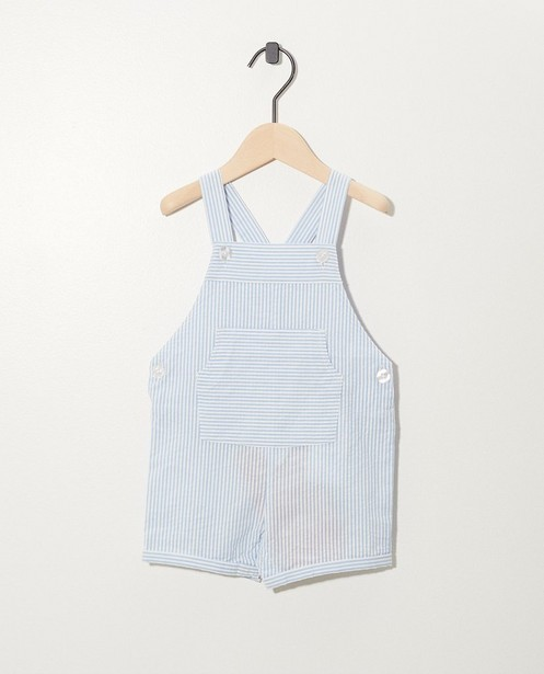 Salopette blanche à rayures bleues - petits boutons blancs - Newborn
