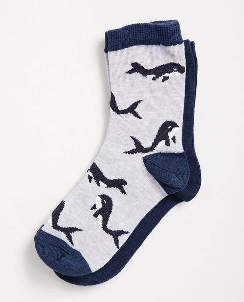 Set von 2 Paar Socken, 7-14 Jahre - Grau und Dunkelblau - JBC