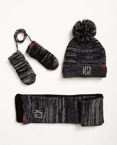 Ensemble bonnet, écharpe et moufles