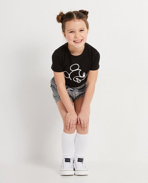 Zwart T-shirt met Mickey Disney - met wit geweven koord - Mickey