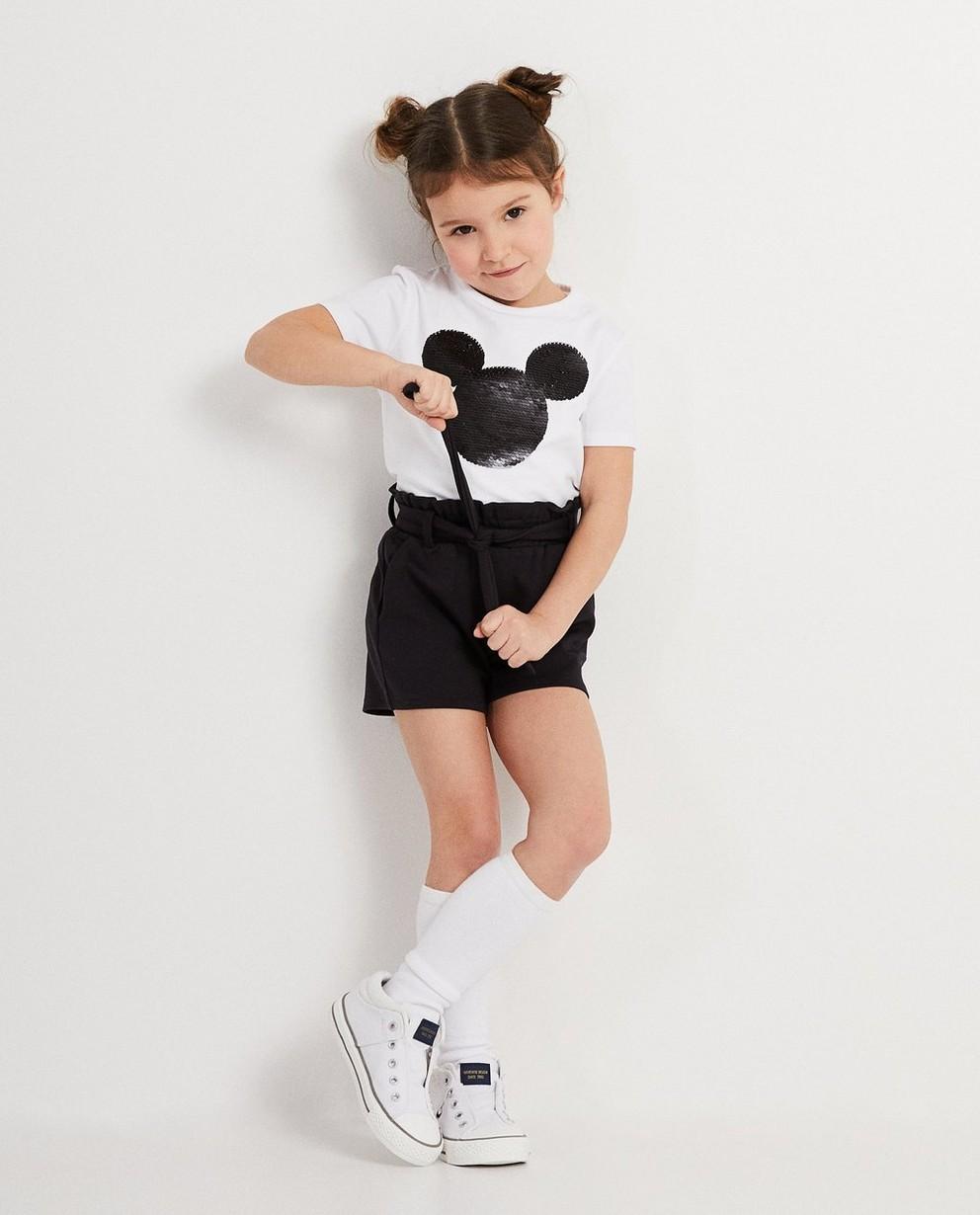 Zwarte short met knooplint Disney - met geborduurde Mickey - Mickey