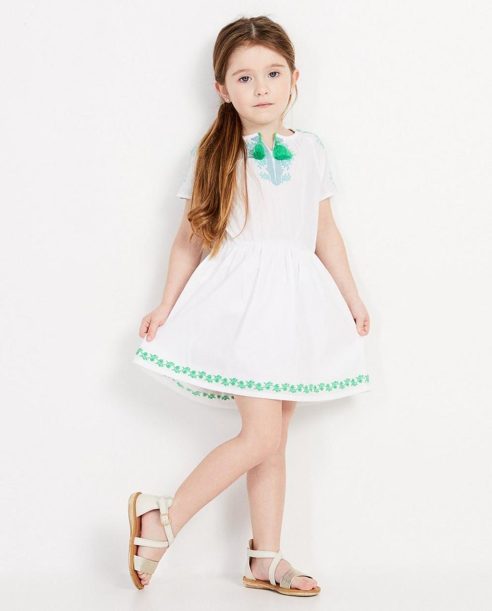 Robe blanche, détails verts - brodée - JBC