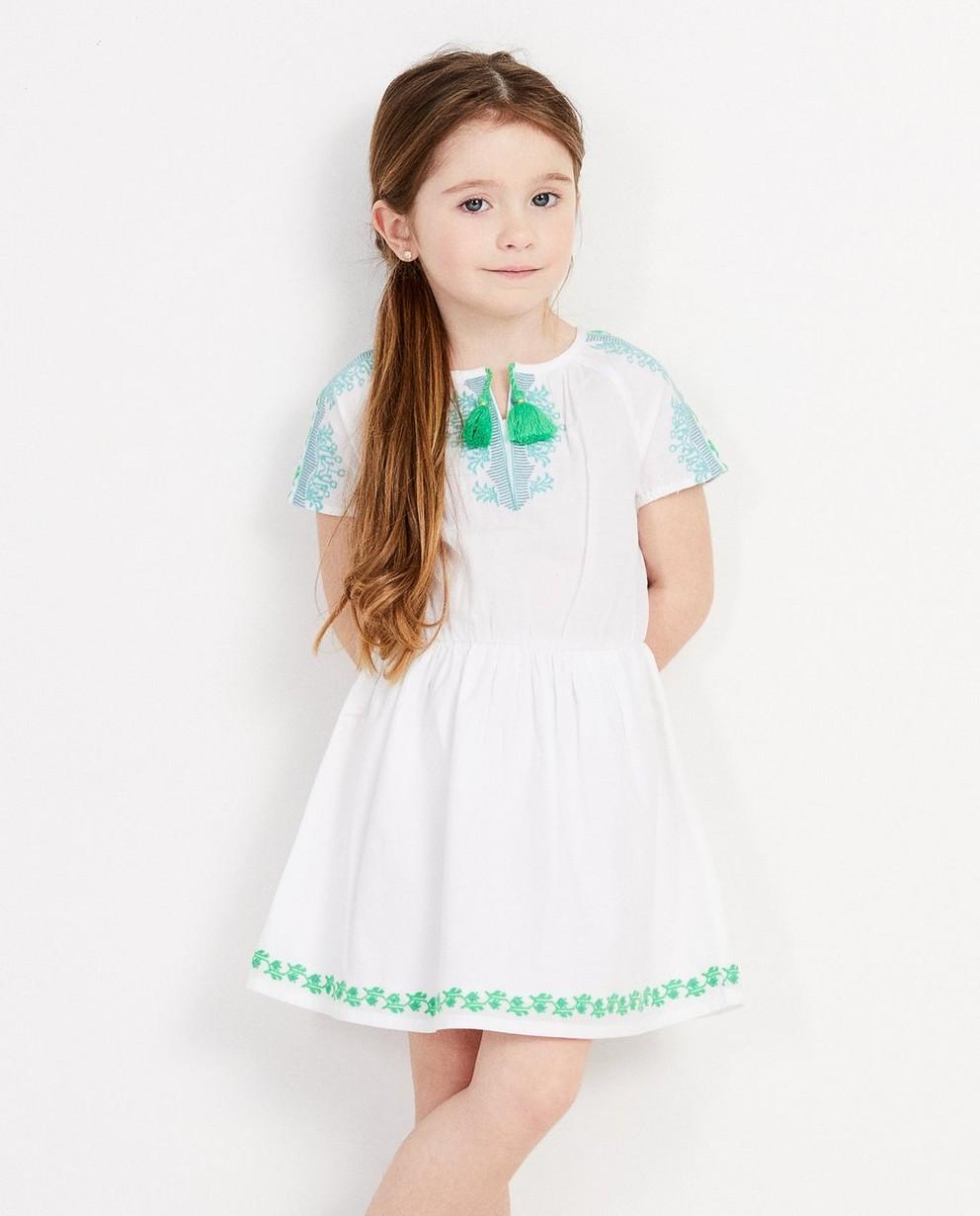 Robes - white - Wit jurkje met groene details