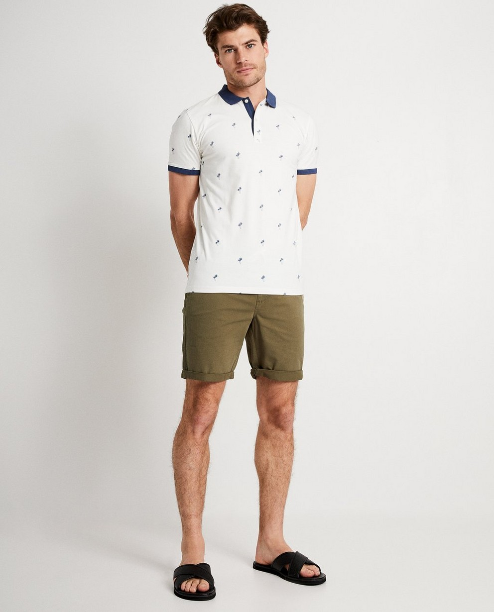 Witte polo met palmboomprint - allover print - JBC