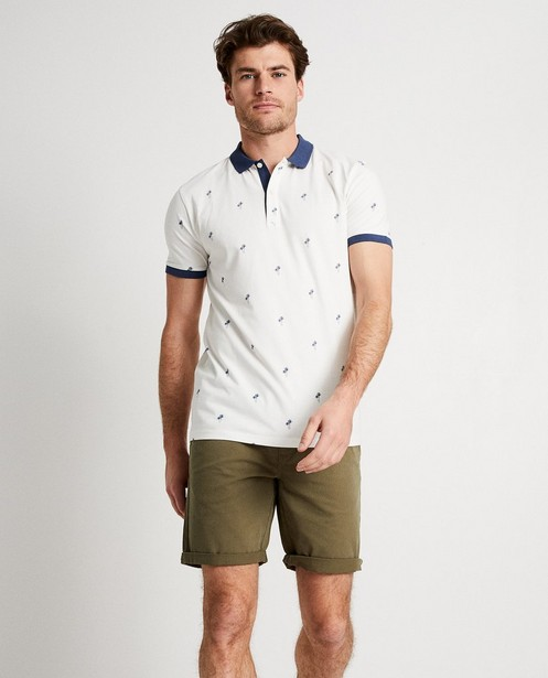 Polo's - Witte polo met palmboomprint
