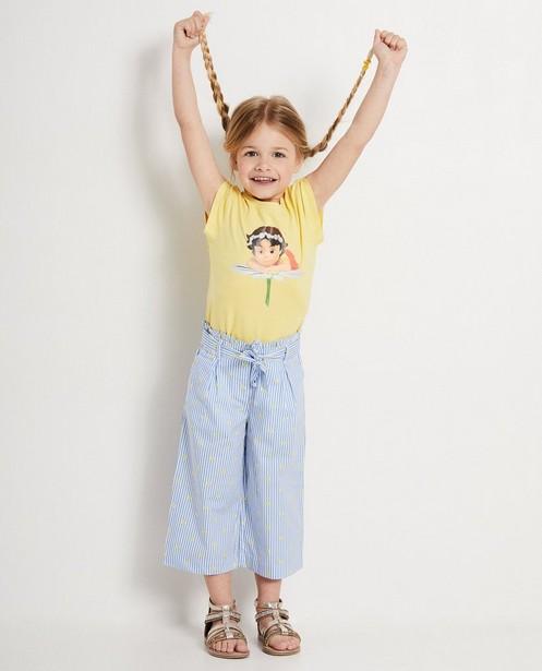 Blauwe broek met strepen Heidi - en gele bloemetjes - Heidi