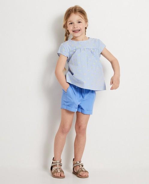 Blauwe blouse met strepen Heidi - met allover print - Heidi