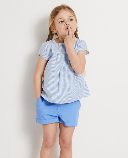 Blauwe blouse met strepen Heidi