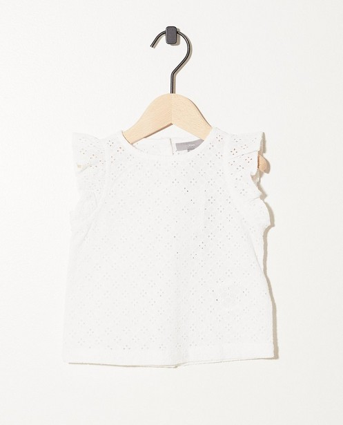 Top blanc, broderie anglaise - motif intégral - JBC