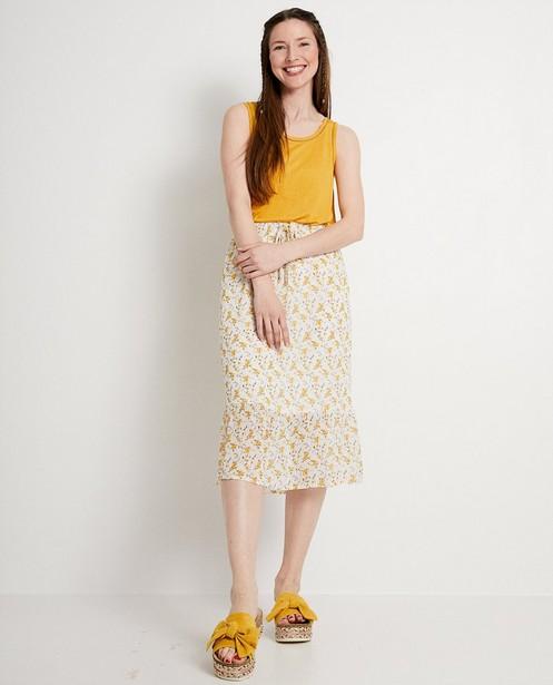 Witte rok met gele bloemenprint - volant - JBC