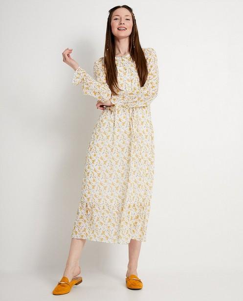 Witte jurk met gele bloemenprint - vintage - JBC