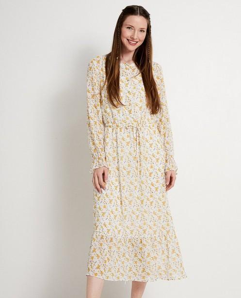 Kleedjes - Witte jurk met gele bloemenprint