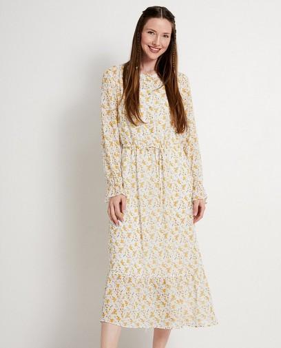 Witte jurk met gele bloemenprint