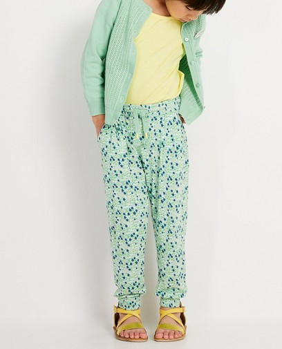 Pantalon vert, imprimé fleuri