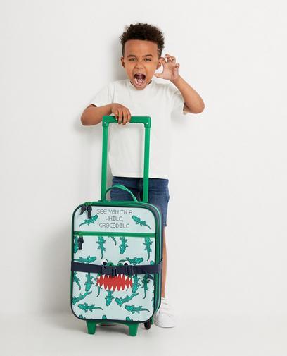 Dunkelblauer Koffer mit Krokodil