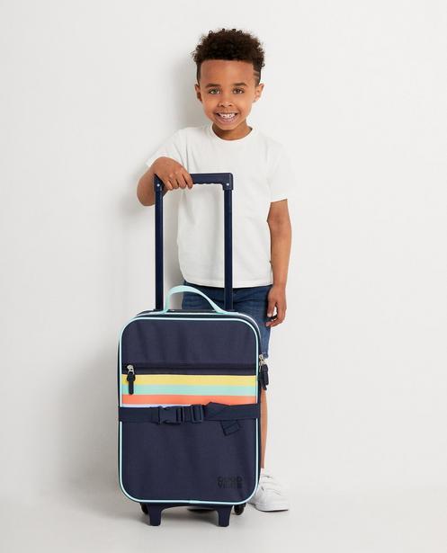 Valise bleu foncé - 4 rayures colorées - JBC