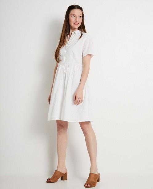 Witte jurk met broderie anglaise - gaatjeskant - JBC