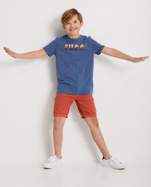 Blauw T-shirt met print 'surf' - gemêleerd - JBC