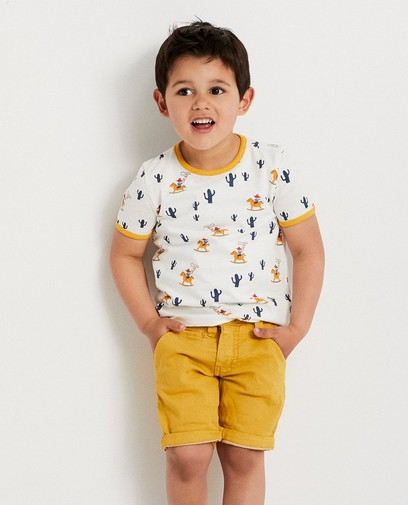 Okergeel T-shirt met cowboyprint