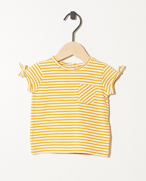 T-shirt ocre en coton bio - rayures blanches - JBC