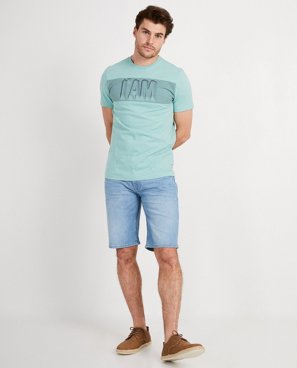 Groene T-shirt van biokatoen IAM  - met print - I AM