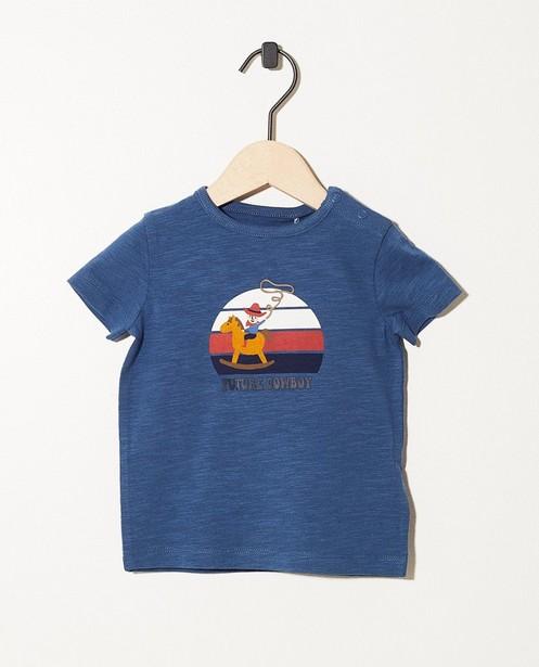 T-shirt bleu en coton bio - imprimé + inscription - JBC