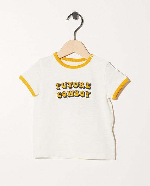 T-shirt blanc en coton bio - et inscription - JBC