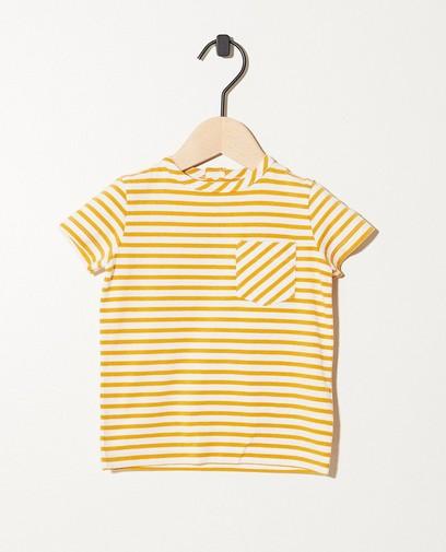 Wit-geel T-shirt van biokatoen