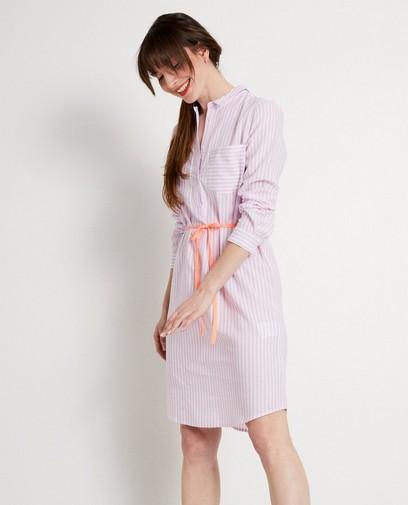 Hemdjurk met witte en roze strepen