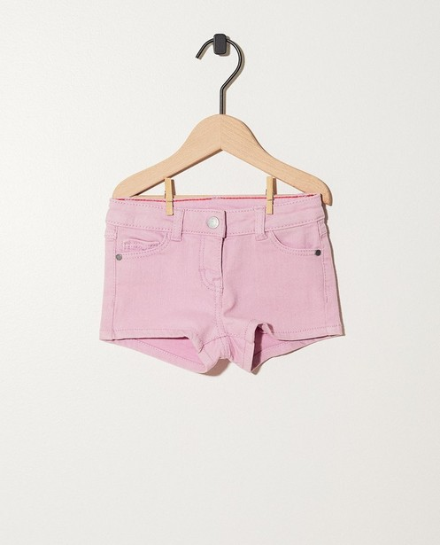 Short mauve pâle en jeans - avec taille ajustable - JBC