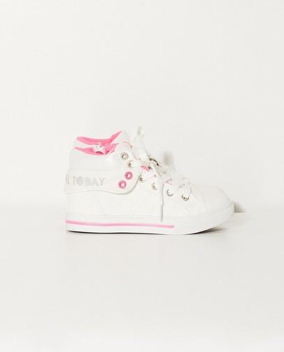 Witte sneakers met roze accenten