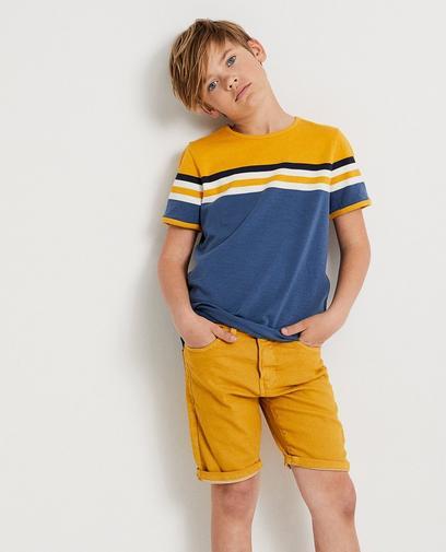 Color block T-shirt met blauw