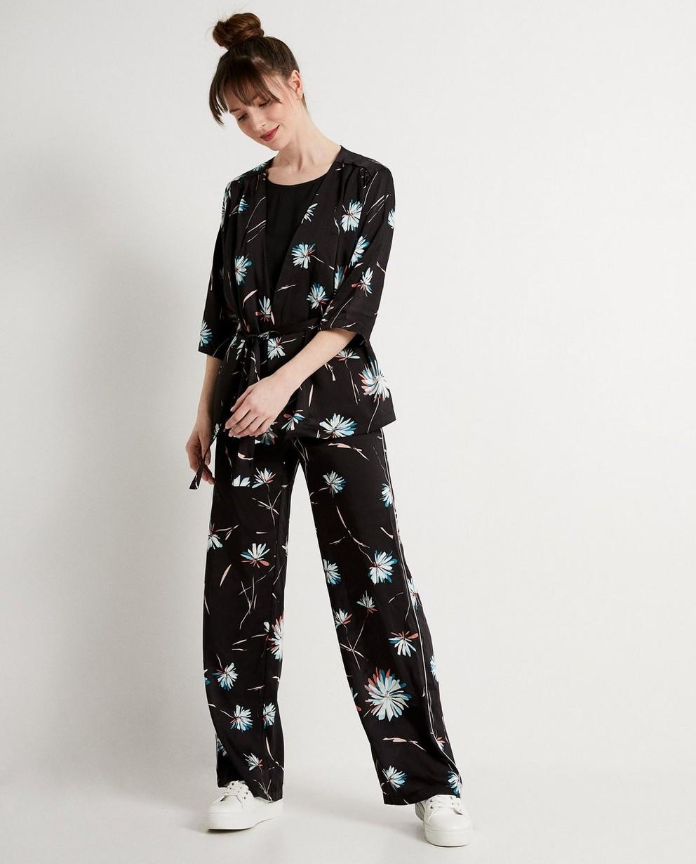 Kimono met bloemenprint - In zwart - JBC