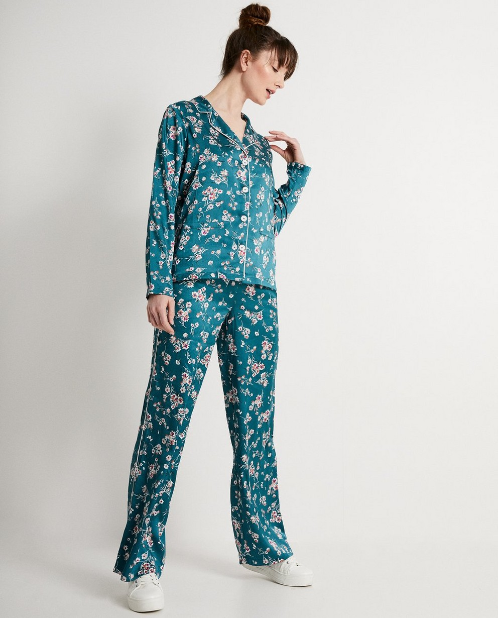 Kimonohemd met bloemenprint  - In groen - JBC