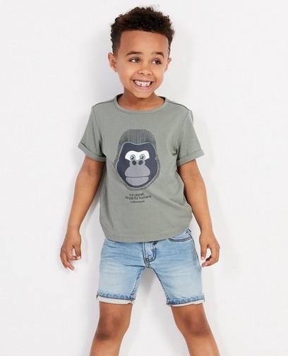 Kaki T-shirt met bedreigd dier 2-7 jaar