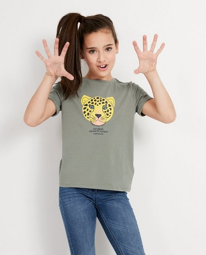 Kaki T-shirt met bedreigd dier