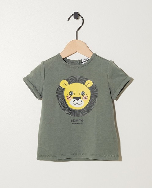 T-shirt kaki, imprimé d'un lion - bord côtelé élastique - JBC