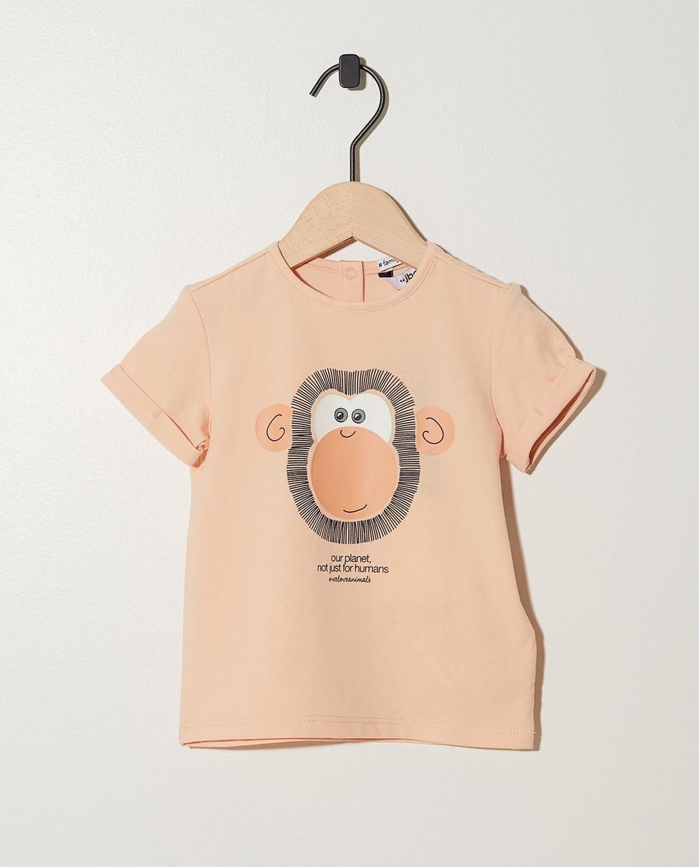 T-shirt saumon, imprimé d'un singe - bord côtelé élastique - JBC