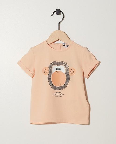 Lachsrosa T-Shirt mit Print eines Affen - mit elastischem Rippbündchen - JBC